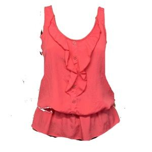 Lush summer top summer sleeveless ruffle trim top
